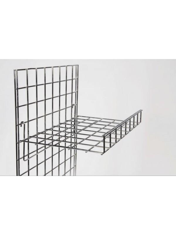 Gridwall Flat Shelf With Lip - Chrome