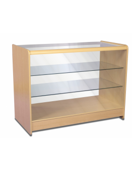Full Glass Shop Counter c/w 2 Shelves 1200mm (W) - Maple
