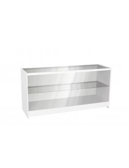 Full Glass Shop Counter c/w 1 Shelf 1200mm (W) - White