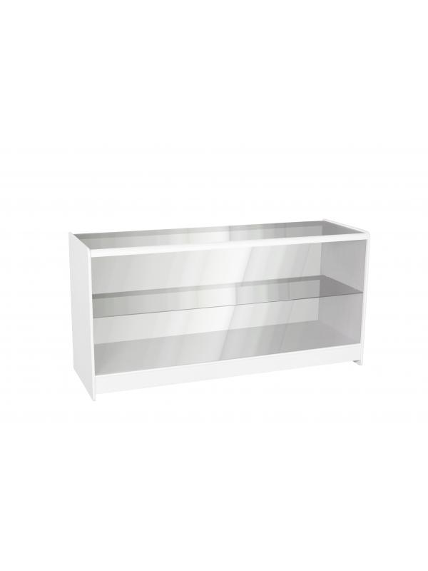 Full Glass Shop Counter c/w 1 Shelf 1800mm (W) - White