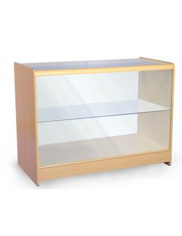 Full Glass Shop Counter c/w 1 Shelf 1200mm (W) - Maple