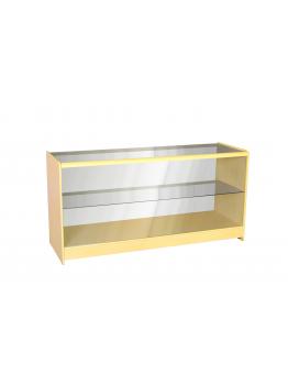 Full Glass Shop Counter c/w 1 Shelf 1800mm (W) - Maple