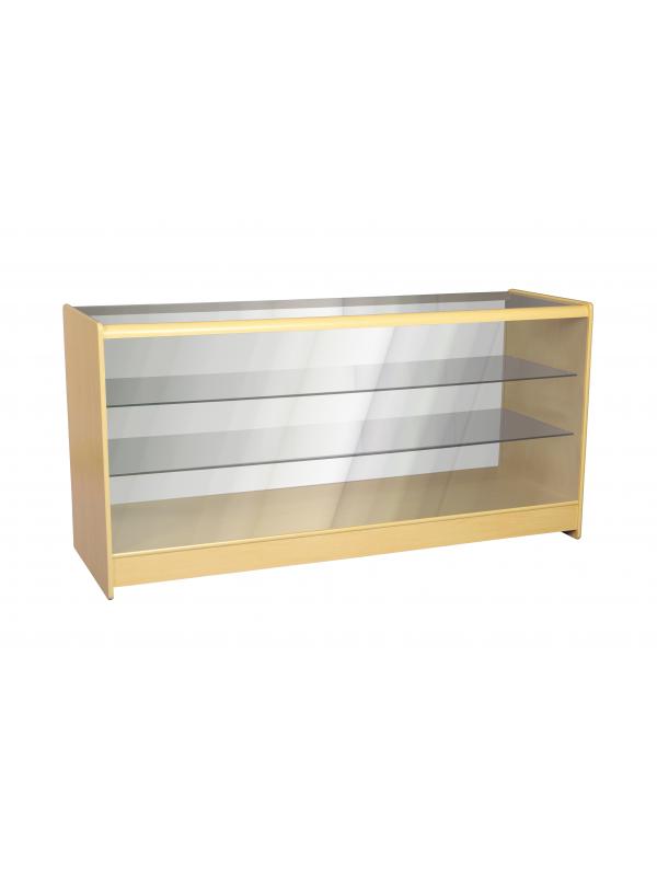 Full Glass Shop Counter c/w 2 Shelves 1800mm (W) - Maple