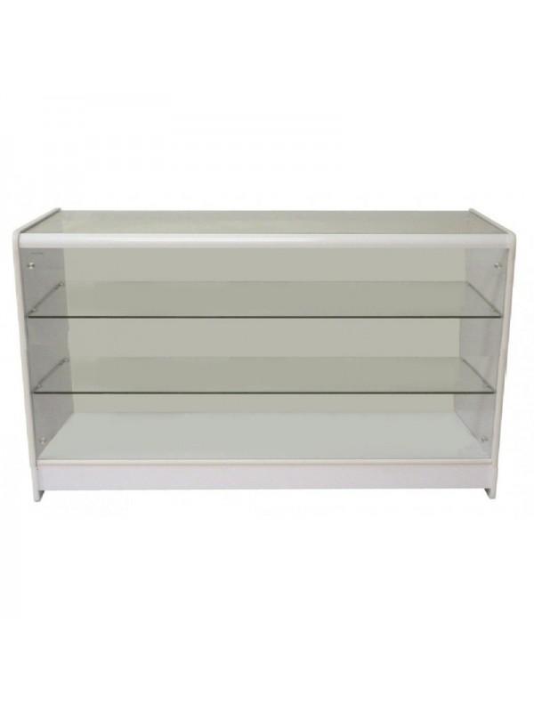 Full Glass Shop Counter c/w 2 Shelves 1200mm (W) - White