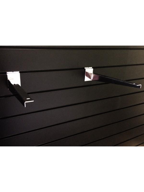 Slatwall Woodshelf Bracket (Pair) 350mm  - Chrome